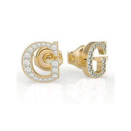 Biżuteria Guess kolczyki złote litera G Swarovski UBE79110