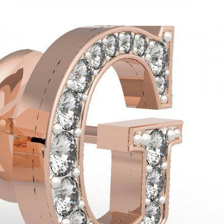 Biżuteria Guess kolczyki różowozłote litera G Swarovski UBE79111