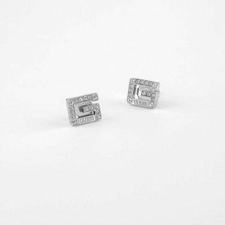 Biżuteria Guess kolczyki srebrne litera G Swarovski UBE79112