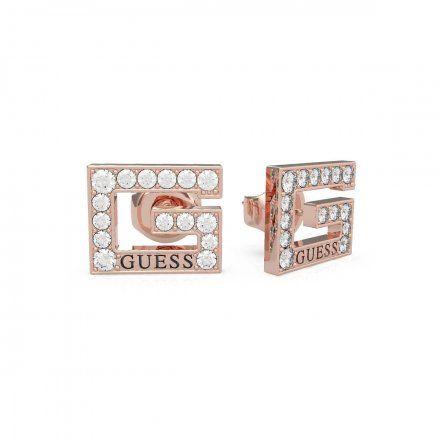 Biżuteria Guess kolczyki różowozłote litera G Swarovski UBE79114