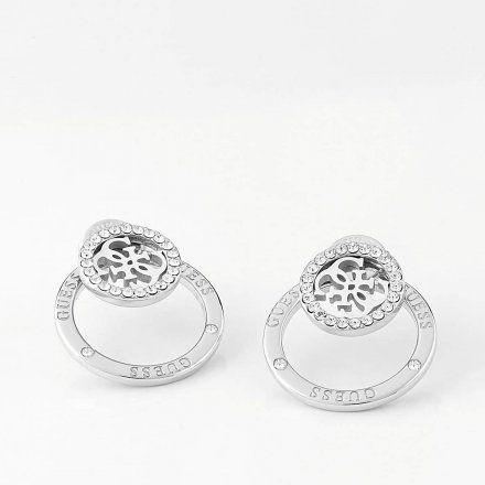 Biżuteria Guess kolczyki podwójne srebrne logo Swarovski UBE79095