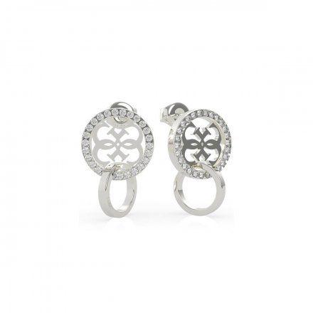 Biżuteria Guess kolczyki koła srebrne logo Swarovski UBE79097