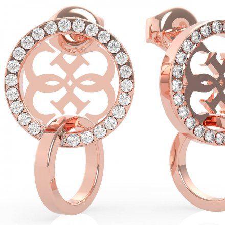 Biżuteria Guess kolczyki koła różowozłote logo Swarovski UBE79098