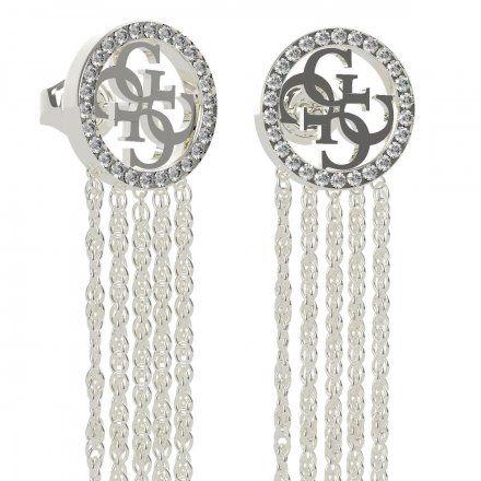 Biżuteria Guess kolczyki srebrne wiszące logo 4G Swarovski UBE79101