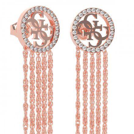Biżuteria Guess kolczyki różowozłote wiszące logo 4G Swarovski UBE79102