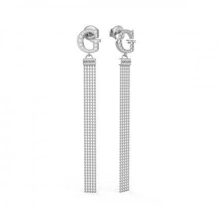 Biżuteria Guess kolczyki srebrne wiszące G Swarovski UBE79103