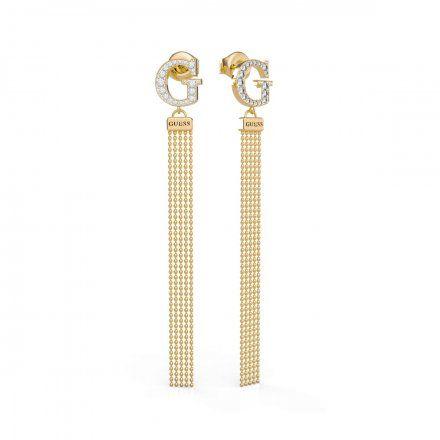Biżuteria Guess kolczyki złote wiszące G Swarovski UBE79104