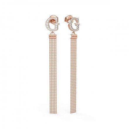 Biżuteria Guess kolczyki różowozłote wiszące G Swarovski UBE79105