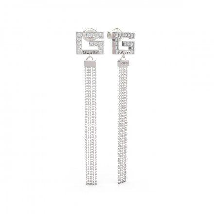 Biżuteria Guess kolczyki srebrne wiszące G Swarovski UBE79106
