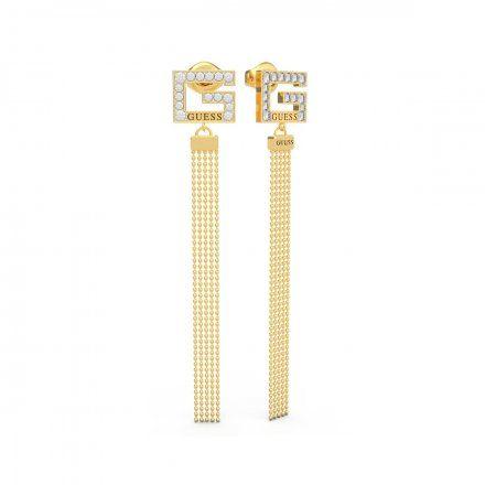 Biżuteria Guess kolczyki złote wiszące G Swarovski UBE79107
