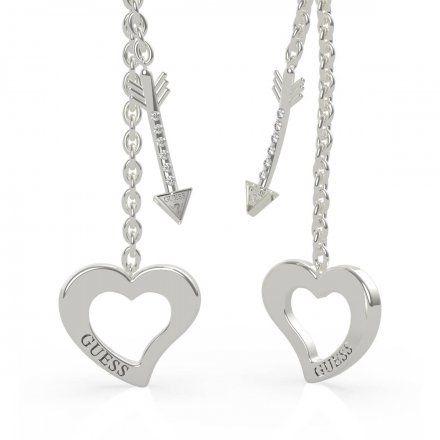 Biżuteria Guess kolczyki srebrne wiszące serce strzała UBE79118