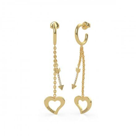 Biżuteria Guess kolczyki złote wiszące serce strzała UBE79119