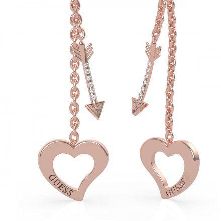 Biżuteria Guess kolczyki różowozłote wiszące serce strzała UBE79120