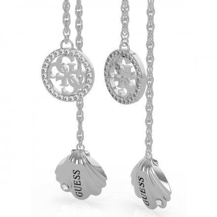 Biżuteria Guess kolczyki srebrne wiszące muszla logo UBE79128