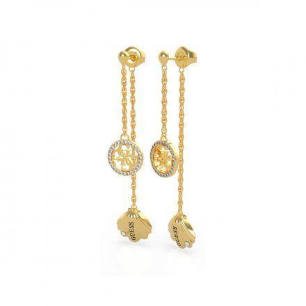 Biżuteria Guess kolczyki złote wiszące muszla logo UBE79129