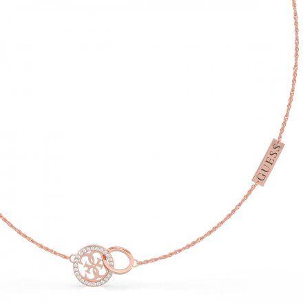 Biżuteria Guess naszyjnik różowozłoty logo UBN79046