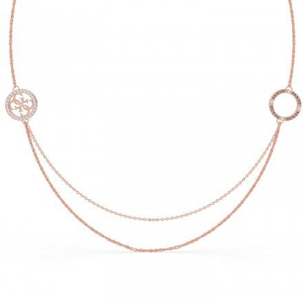 Biżuteria Guess naszyjnik różowozłoty logo UBN79048
