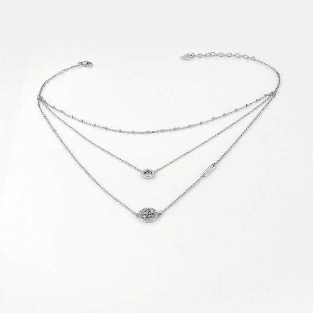 Biżuteria Guess naszyjnik srebrny potrójny UBN79049