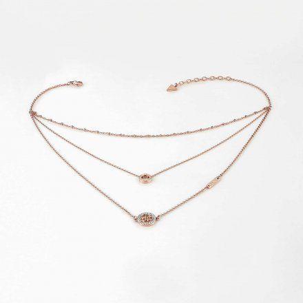 Biżuteria Guess naszyjnik różowozłoty potrójny UBN79050