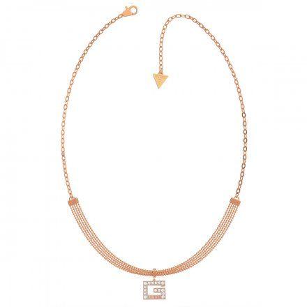 Biżuteria Guess naszyjnik różowozłoty litera G UBN79058