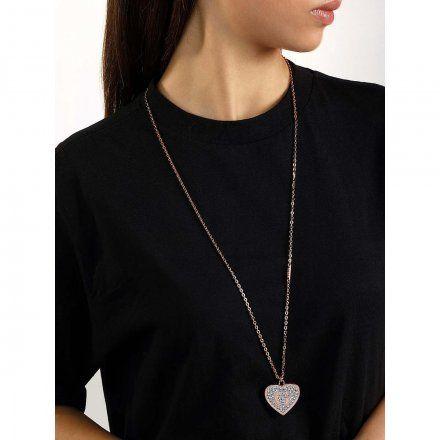 Biżuteria Guess naszyjnik różowozłoty długi serce Swarovski UBN79040