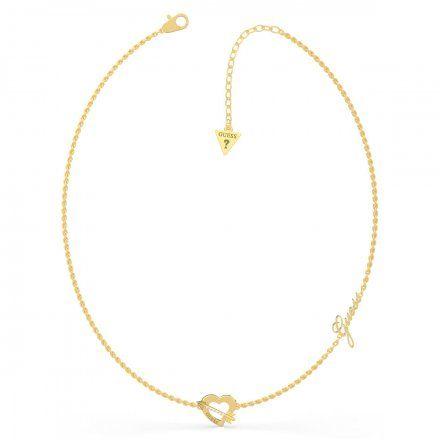 Biżuteria Guess naszyjnik złoty serce strzała UBN79060
