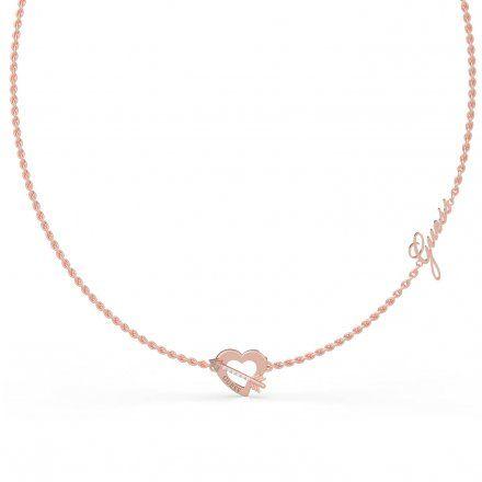 Biżuteria Guess naszyjnik różowozłoty serce strzała UBN79061