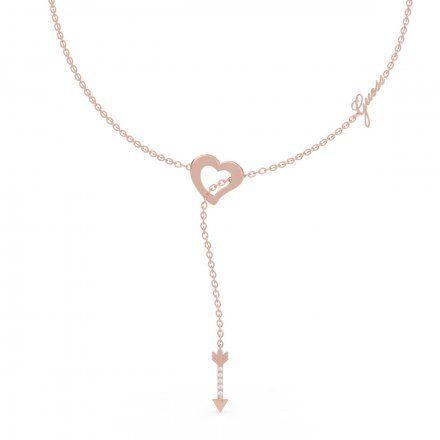 Biżuteria Guess naszyjnik różowozłoty serce strzała UBN79064