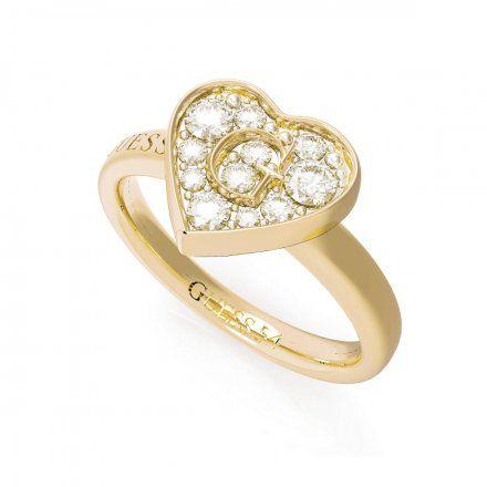 Biżuteria Guess pierścionek złoty serce UBR79029-56
