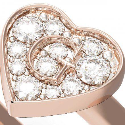 Biżuteria Guess pierścionek różowozłoty serce UBR79030-50
