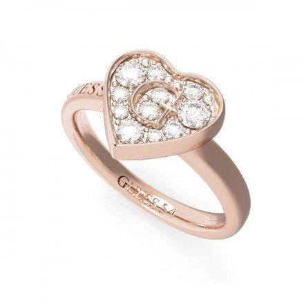 Biżuteria Guess pierścionek różowozłoty serce UBR79030-54