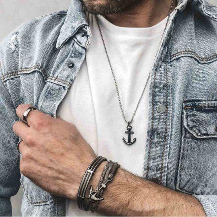 Biżuteria Manoki Skórzana bransoletka męska BA760B