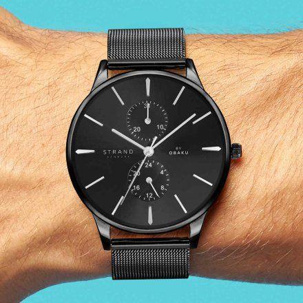 S703GMBBMB Czarny zegarek Męski Strand by OBAKU