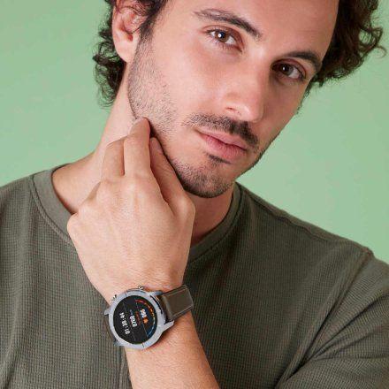 Srebrny Smartwatch Marea B58003-1 bransoletka mesh + brązowy pasek
