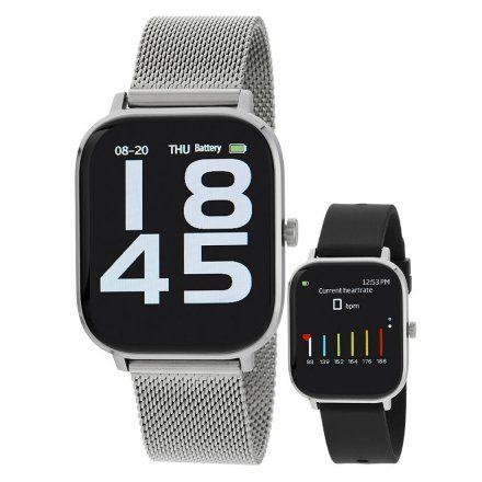 Smartwatch Marea B58006-5 srebrna bransoletka + czarny pasek ROZMOWY