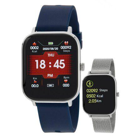 Smartwatch Marea B58006-6 srebrna bransoletka + granatowy pasek ROZMOWY