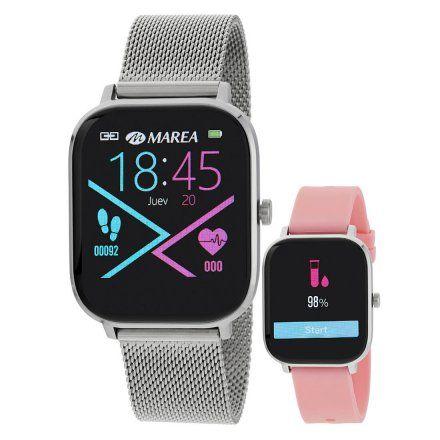 Smartwatch Marea B58006-7 srebrna bransoletka + różowy pasek ROZMOWY