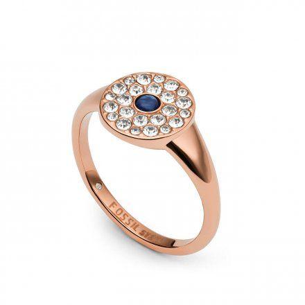 FOSSIL Różowozłoty pierścionek damski z kryształkami JF03587791 r.19