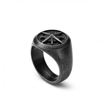 FOSSIL czarny pierścionek męski sygnet JF03626040 r. 25