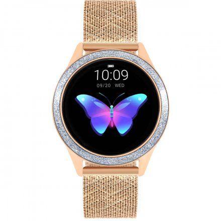 Różowozłoty smartwatch damski kryształki z bransoletką Pacific 07-X