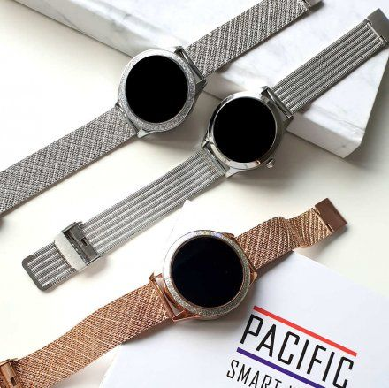 Srebrny smartwatch damski kryształki z bransoletką Pacific 07-X