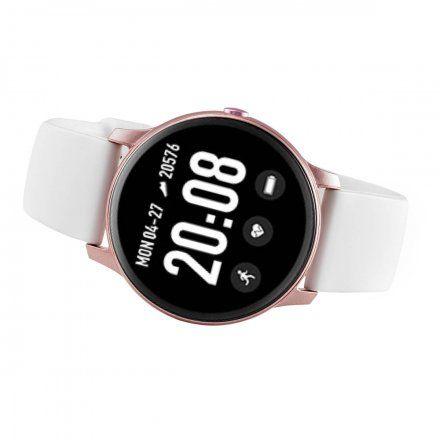 Różowy smartwatch damski z białym paskiem Rubicon RNCE40RIWX01AX
