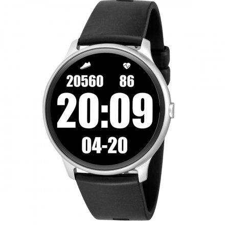 Srebrny smartwatch męski damski Rubicon z czarnym paskiem RNCE61SIBX05AX