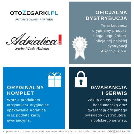 Zegarek Damski Adriatica A3646.5114QBL + Pasek | ZESTAW Swiss Made