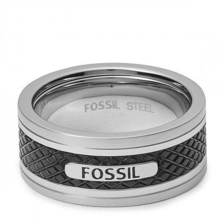 FOSSIL srebrno-czarny pierścionek męski obrączka JF00888040 r. 22