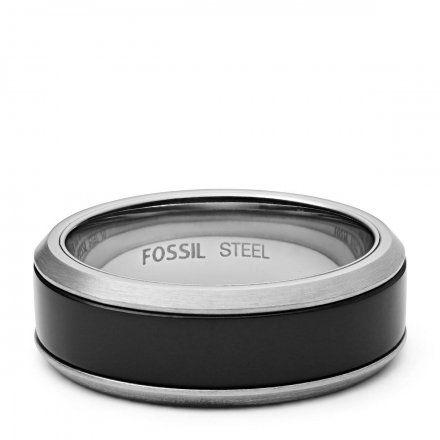 FOSSIL srebrno-czarny pierścionek męski obrączka JF02928040 r. 22