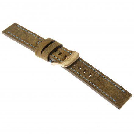 Pasek do zegarka Vostok Europe Pasek Almaz - Skóra (O266) brązowy z niebieskim przeszyciem różowa klamra