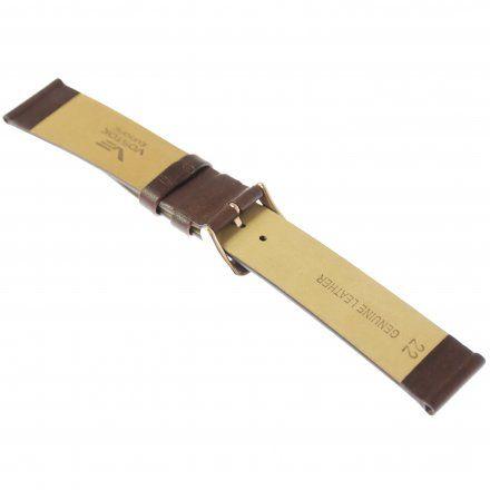 Pasek do zegarka Vostok Europe Pasek Gaz-14 - Skóra 560 (B600) brązowy gładki różowa klamra