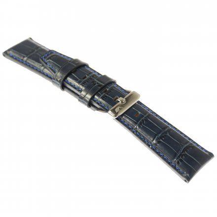 Pasek do zegarka Vostok Europe Pasek Gaz-14 - Skóra 565 (A594) niebieski croco błyszcąca klamrą