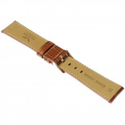 Pasek do zegarka Vostok Europe Pasek Gaz-14 - Skóra 565 (B592) brązowy croco z białym przeszyciem różowa klamra